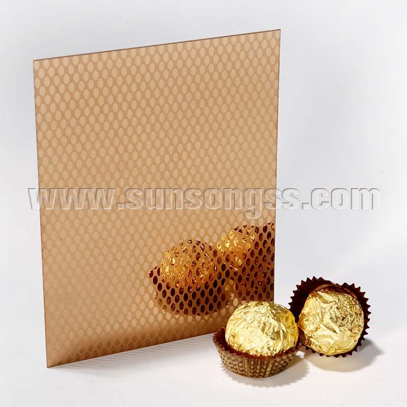Mirror Etching Gold Rose Stainless Steel Sheet