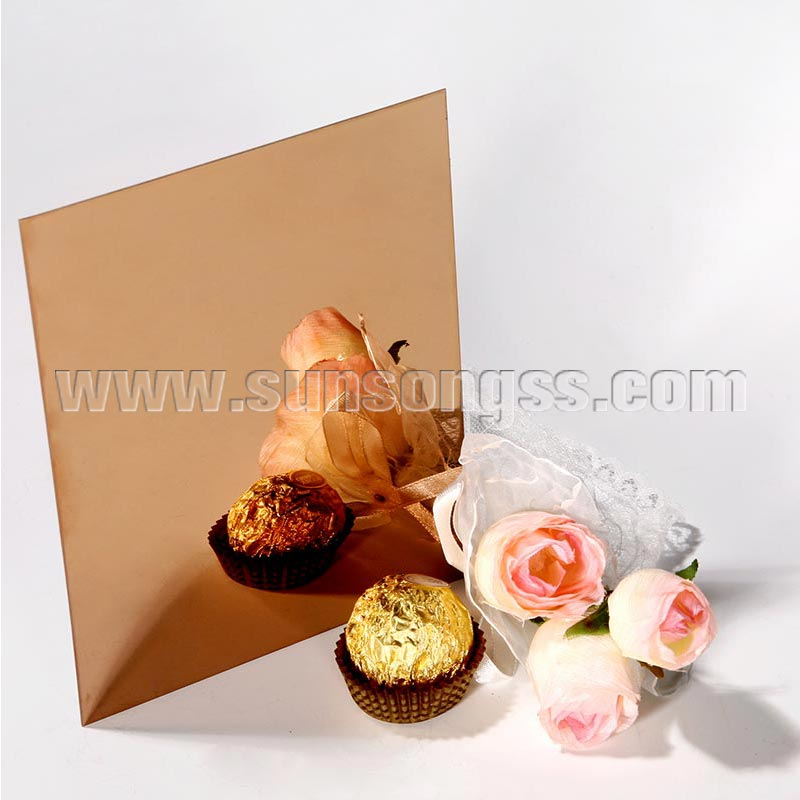 Super Mirror Gold Rose Stainless Steel Sheet