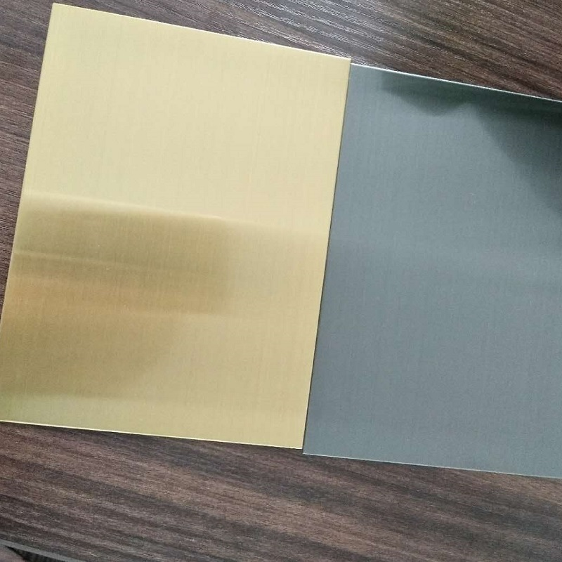 Hairline Colour Coated Gold stainless steel sheet