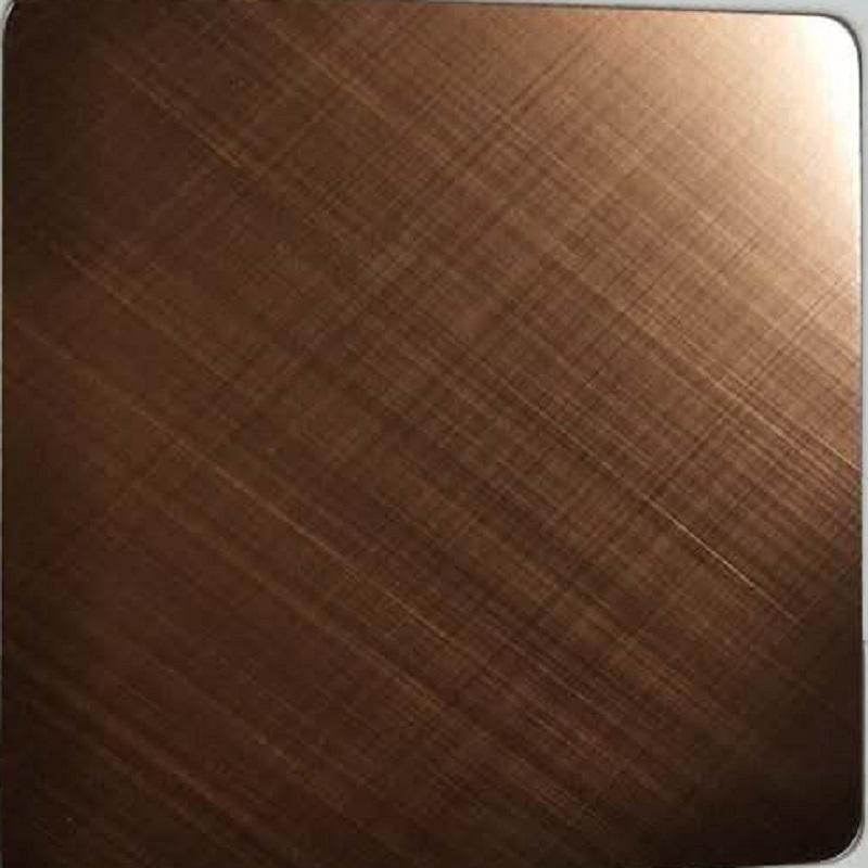 Cross Hairline Gold Rose Stainless Steel Sheet