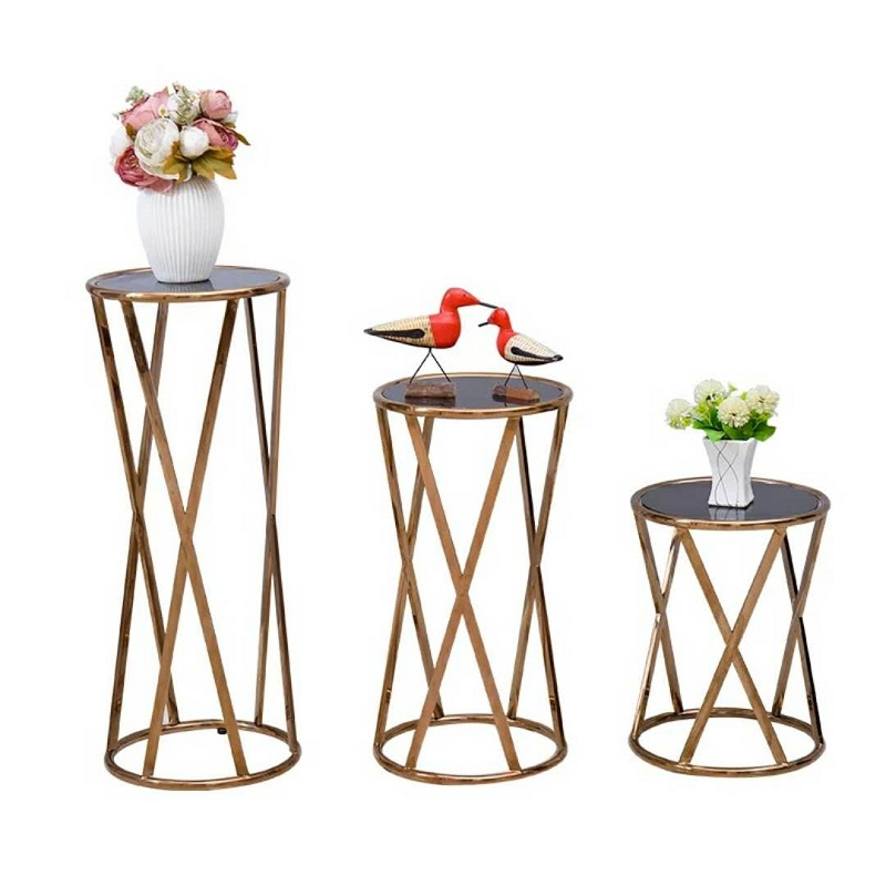 Stainless steel flower shelf  rose gold