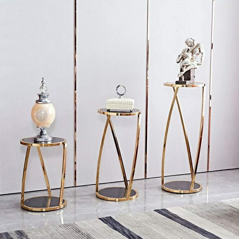 Stainless steel flower shelf gold