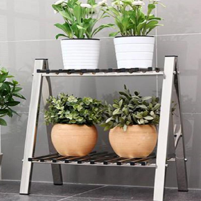 Stainless steel flower shelf mirror silver